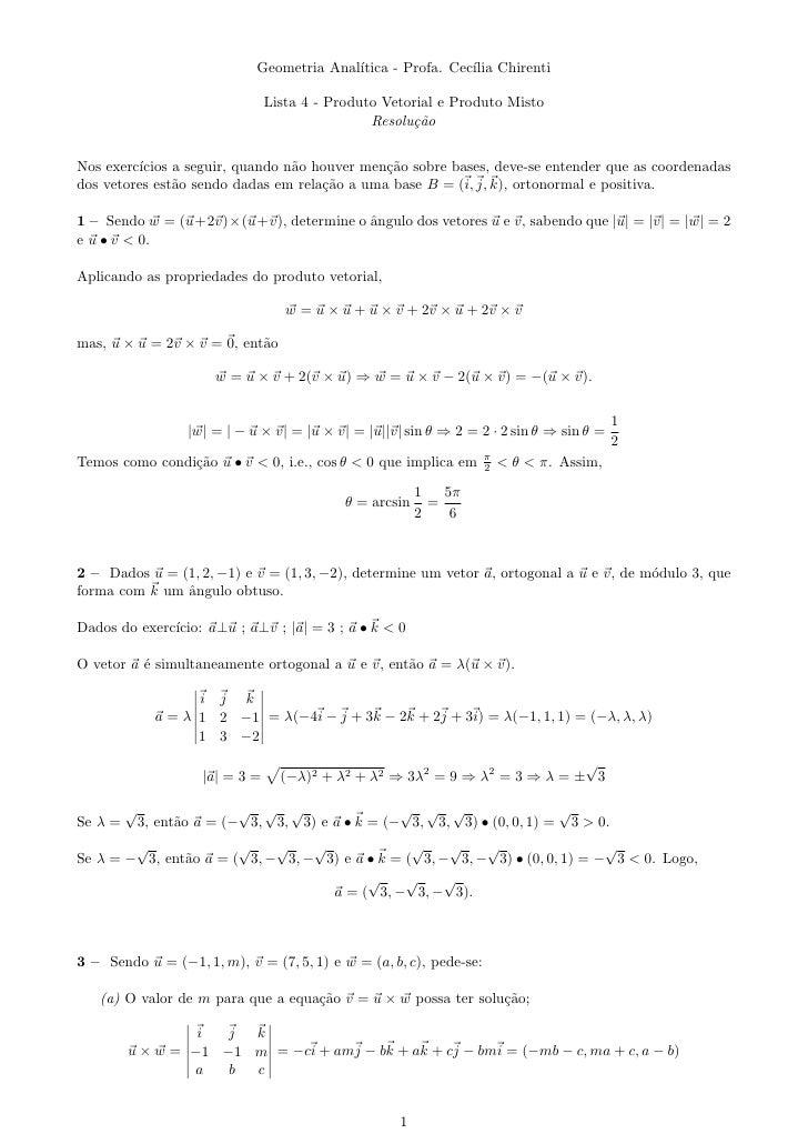 Geometria Anal´                                             ıtica - Profa. Cec´ Chirenti                                  ...