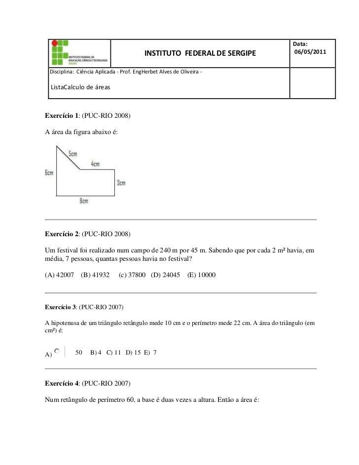 INSTITUTO  FEDERAL DE SERGIPEData: 06/05/2011D  Disciplina:  Ciência Aplicada - Prof. Eng  Herbet Alves de Oliveira -     ...