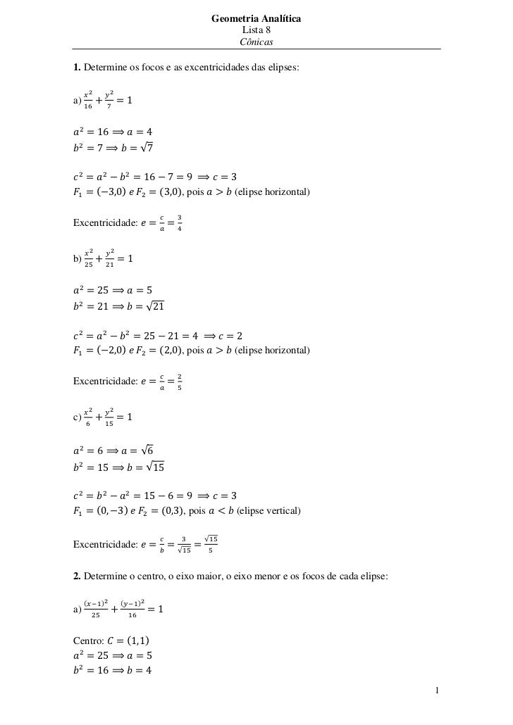 Geometria Analítica                                                        Lista 8                                        ...