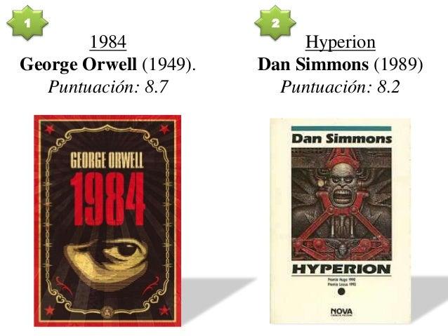 1984 George Orwell (1949). Puntuación: 8.7 Hyperion Dan Simmons (1989) Puntuación: 8.2 1 2