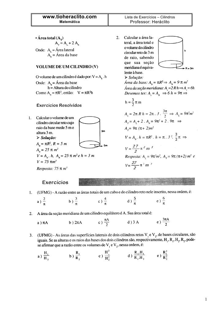 www.tioheraclito.com   Lista de Exercícios – Cilindros       Matemática          Professor: Heráclito                     ...