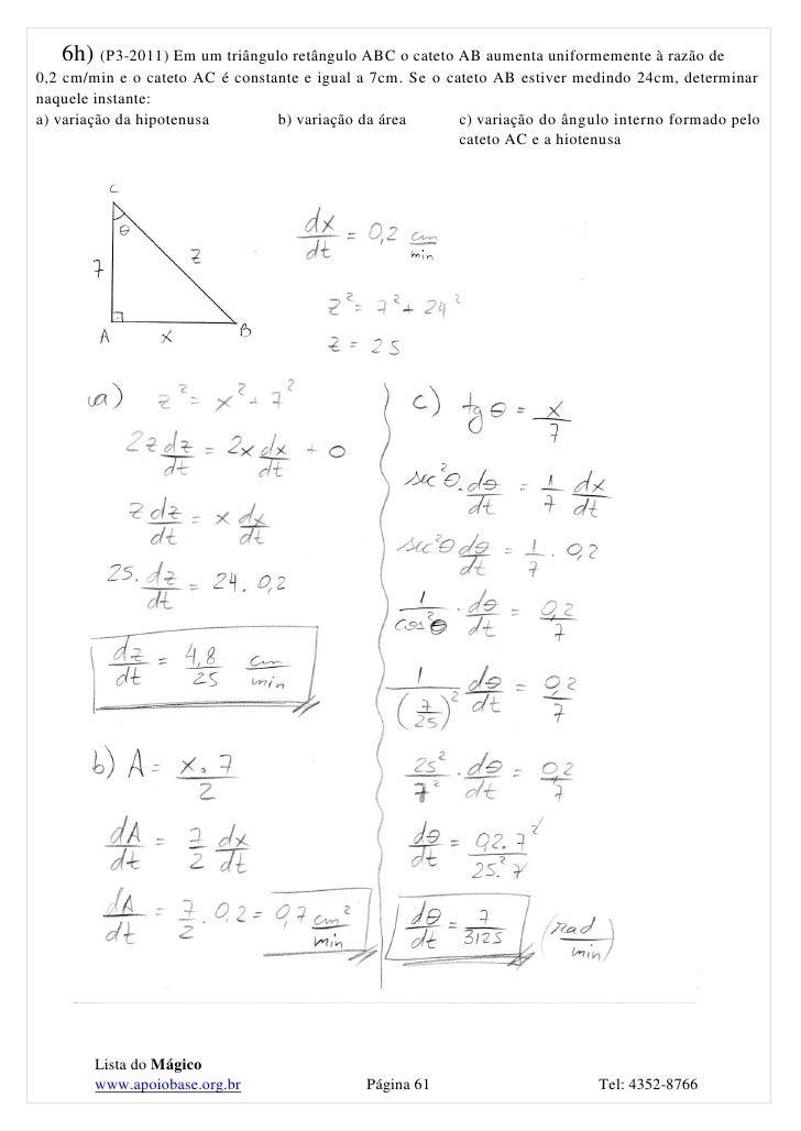 Lista c lculo1 p2 2011 for Um losango e interno a uma circunferencia de 6cm de raio