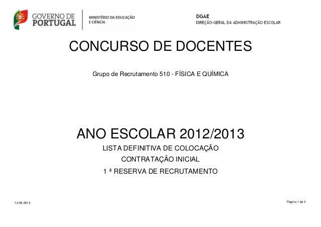 CONCURSO DE DOCENTES Grupo de Recrutamento 510 - FÍSICA E QUÍMICA  ANO ESCOLAR 2012/2013 LISTA DEFINITIVA DE COLOCAÇÃO CON...