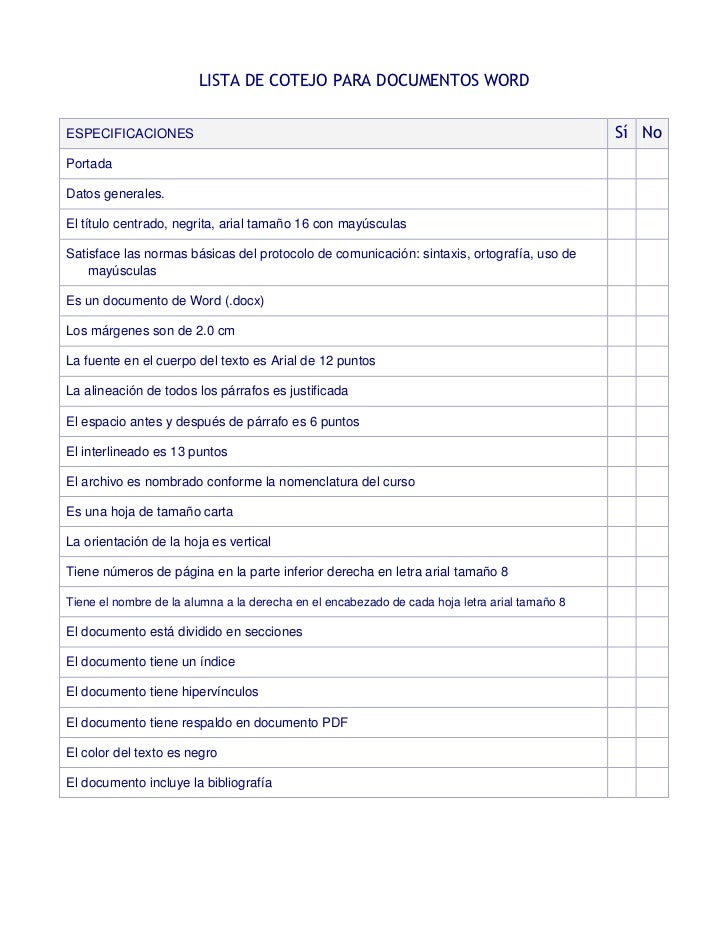 LISTA DE COTEJO PARA DOCUMENTOS WORDESPECIFICACIONES                                                                      ...