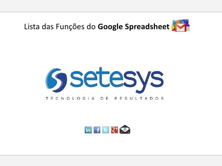 Lista das Funções do Google Spreadsheet