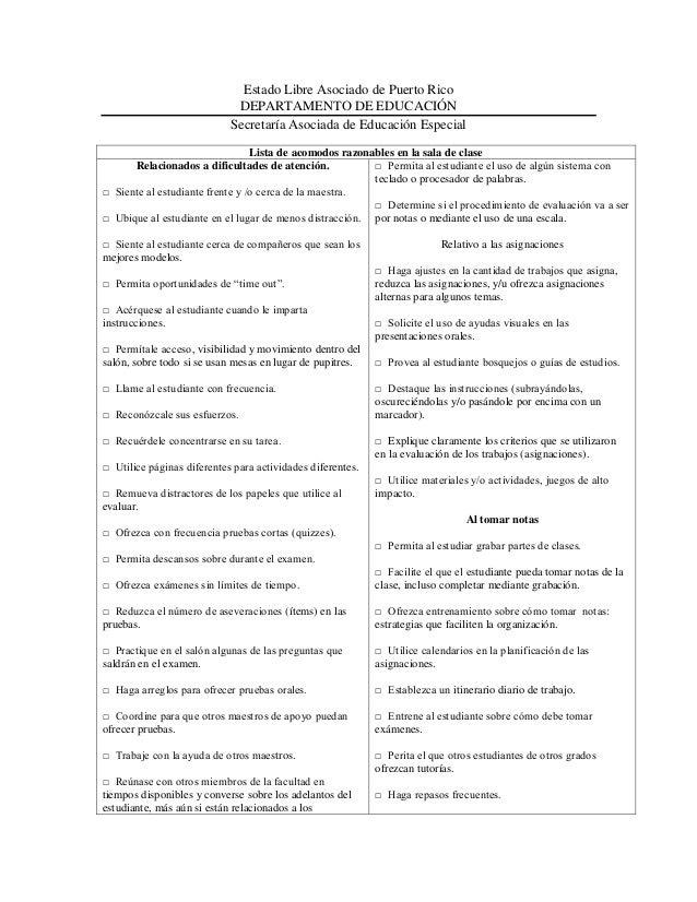 Estado Libre Asociado de Puerto Rico DEPARTAMENTO DE EDUCACIÓN Secretaría Asociada de Educación Especial Lista de acomodos...