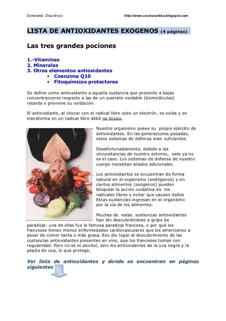 Esmeralda Díaz-Aroca                            http://www.cocina-antiox.blogspot.com    LISTA DE ANTIOXIDANTES EXOGENOS  ...