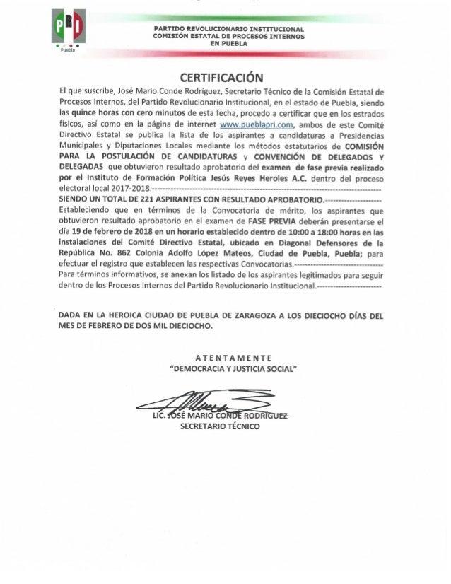 Lista de aprobados del examen fase previa ayuntamientos y diputaciones