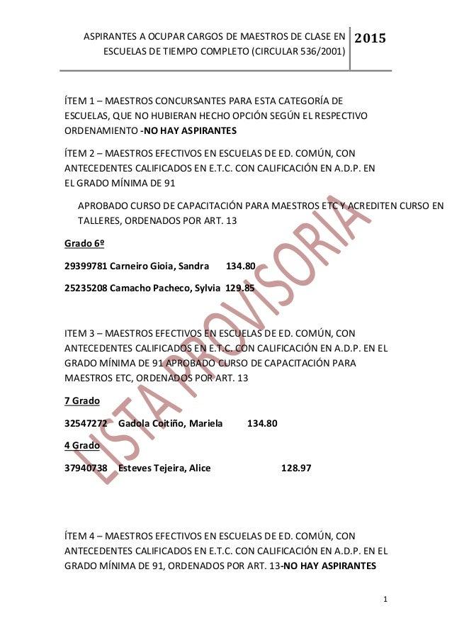 ASPIRANTES A OCUPAR CARGOS DE MAESTROS DE CLASE EN  ESCUELAS DE TIEMPO COMPLETO (CIRCULAR 536/2001)  2015  1  ÍTEM 1 – MAE...