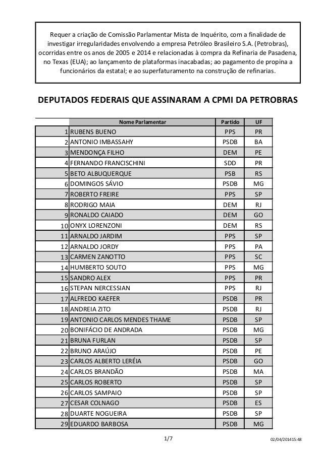 Colunas1 Nome Parlamentar Partido UF 1 RUBENS BUENO PPS PR 2 ANTONIO IMBASSAHY PSDB BA 3 MENDONÇA FILHO DEM PE 4 FERNANDO ...