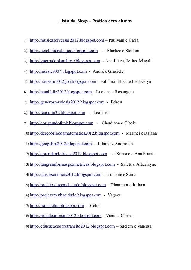 Lista de Blogs – Prática com alunos1) http://musicasdiversas2012.blogspot.com – Paulyani e Carla2) http://ociclohidrologic...