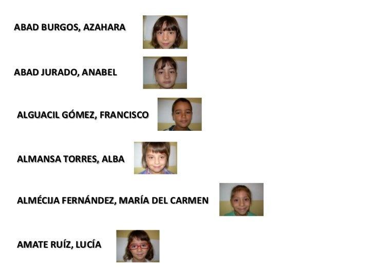 ABAD BURGOS, AZAHARAABAD JURADO, ANABELALGUACIL GÓMEZ, FRANCISCOALMANSA TORRES, ALBAALMÉCIJA FERNÁNDEZ, MARÍA DEL CARMENAM...
