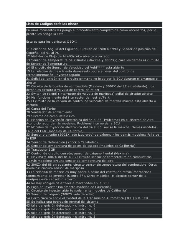 Lista De Codigos De Fallas Nissan