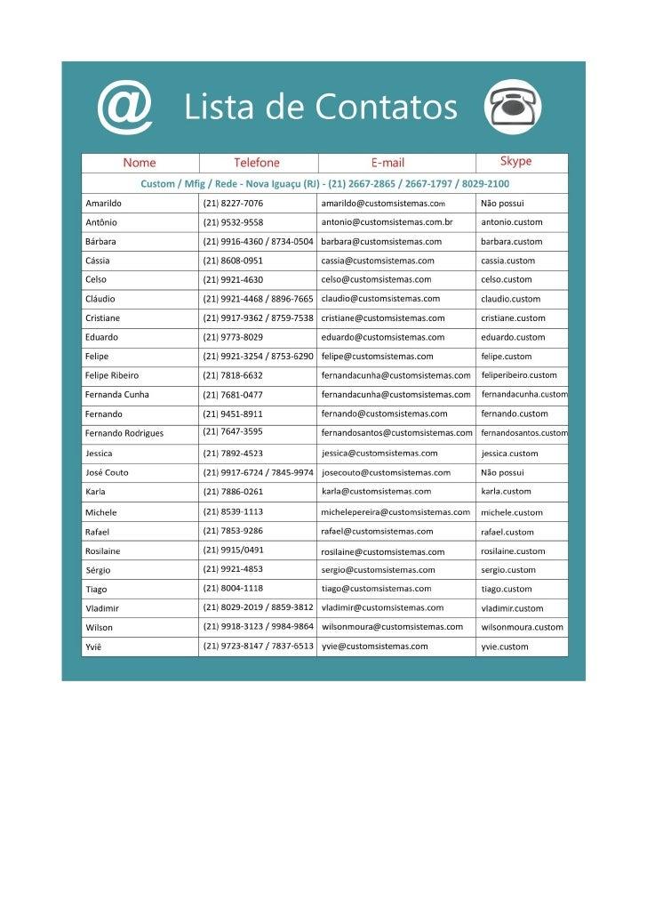 Lista de contatos