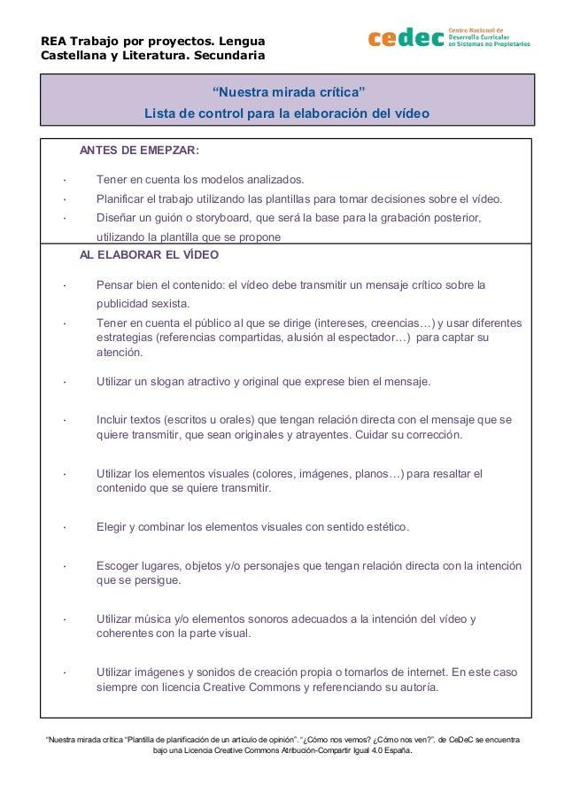 """REA Trabajo por proyectos. Lengua Castellana y Literatura. Secundaria """"Nuestra mirada crítica"""" Lista de control para la el..."""