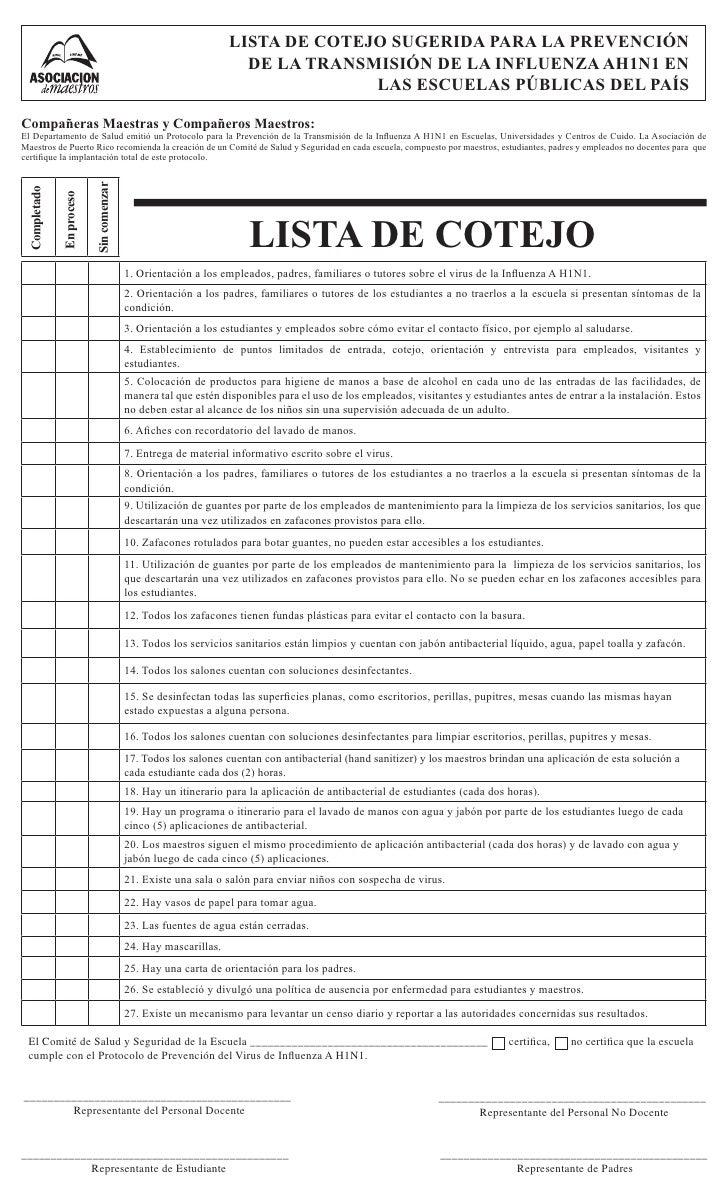LISTA DE COTEJO SUGERIDA PARA LA PREVENCIÓN                                                                    DE LA TRANS...