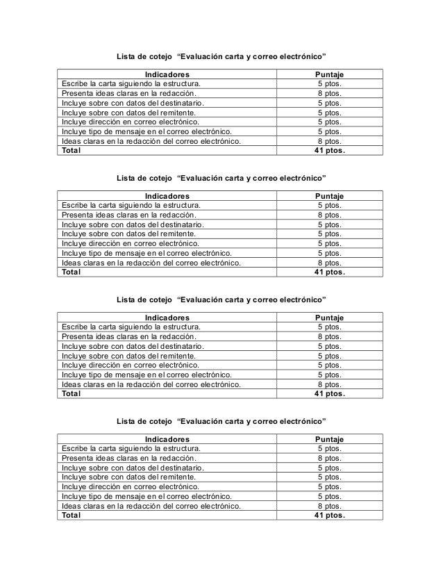 """Lista de cotejo """"Evaluación carta y correo electrónico""""Indicadores PuntajeEscribe la carta siguiendo la estructura. 5 ptos..."""