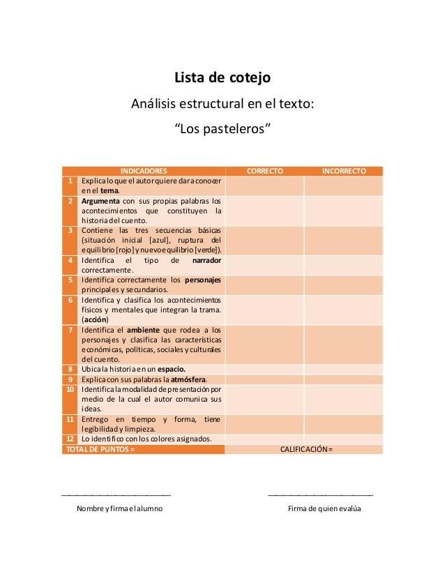 """Lista de cotejo Análisis estructural en el texto: """"Los pasteleros"""" INDICADORES CORRECTO INCORRECTO 1 Explicaloque el autor..."""