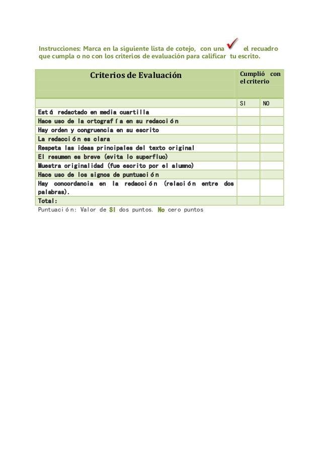 Puntuación: Valor de SI dos puntos. No cero puntos Criterios de Evaluación Cumplió con el criterio SI NO Está redactado en...