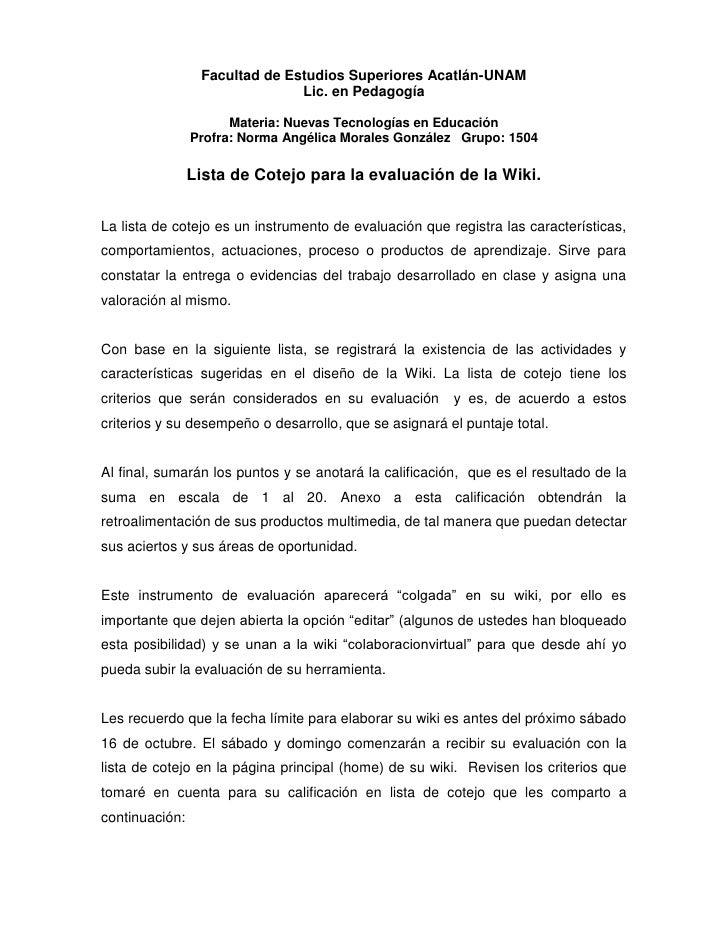Facultad de Estudios Superiores Acatlán-UNAM<br />Lic. en Pedagogía<br />Materia: Nuevas Tecnologías en Educación<br />Pro...