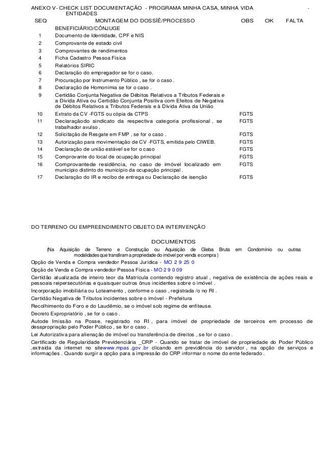 ANEXO V- CHECK LIST DOCUMENTAÇÃO - PROGRAMA MINHA CASA, MINHA VIDA                                                        ...