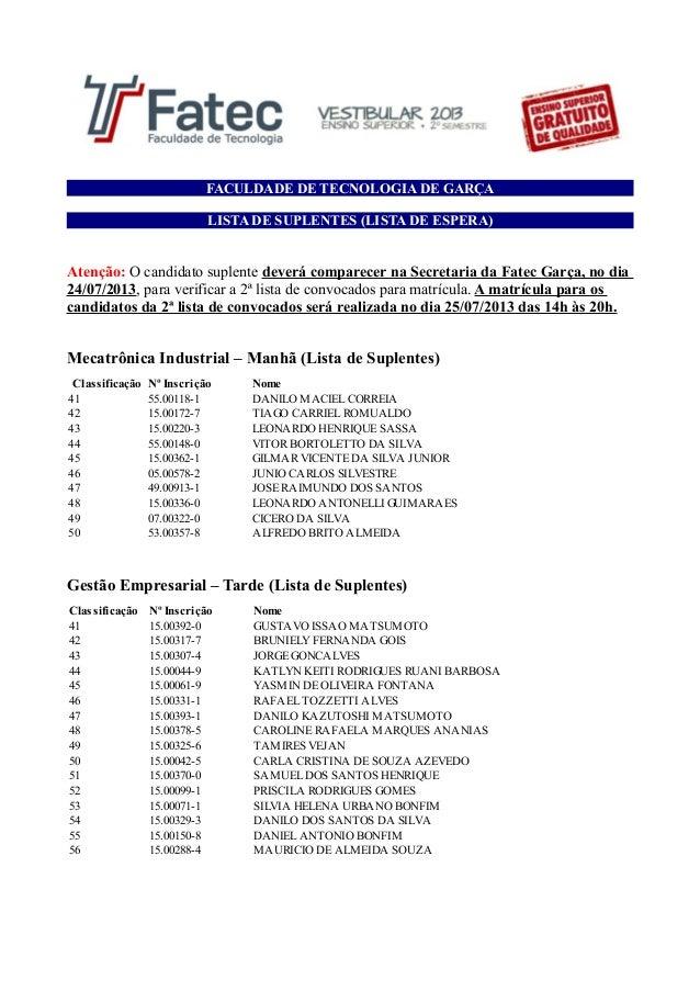FACULDADE DE TECNOLOGIA DE GARÇA LISTA DE SUPLENTES (LISTA DE ESPERA) Atenção: O candidato suplente deverá comparecer na S...