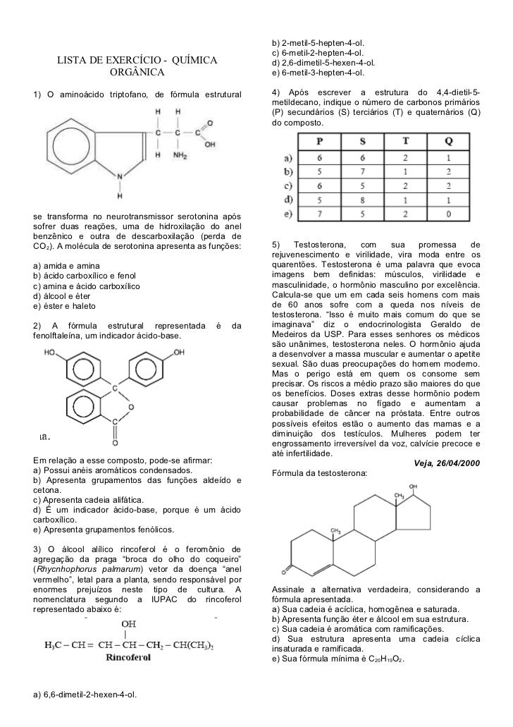 b) 2-metil-5-hepten-4-ol.                                                        c) 6-metil-2-hepten-4-ol.      LISTA DE E...