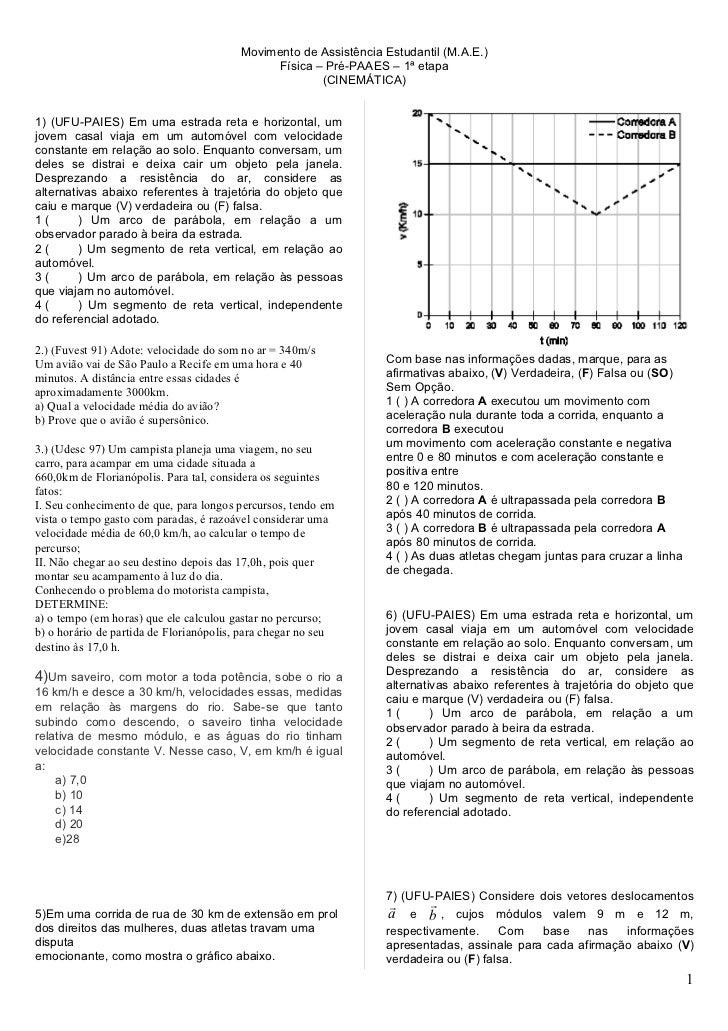 Movimento de Assistência Estudantil (M.A.E.)                                              Física – Pré-PAAES – 1ª etapa   ...