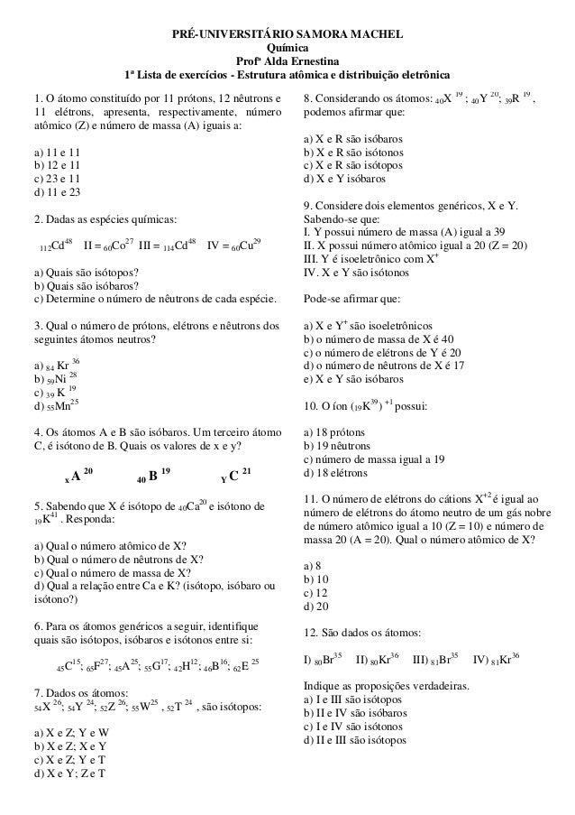 Lista De Exercícios Estrutura Atômica E Distribuição