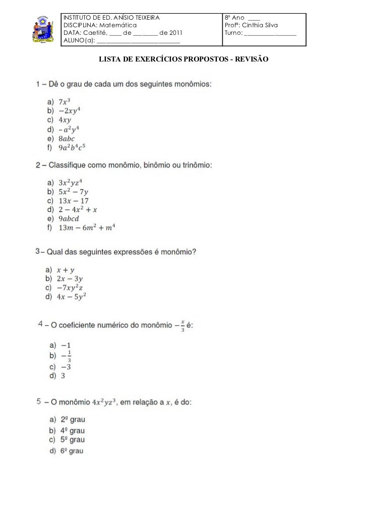 INSTITUTO DE ED. ANÍSIO TEIXEIRA          8º Ano ____DISCIPLINA: Matemática                    Profª: Cinthia SilvaDATA: C...