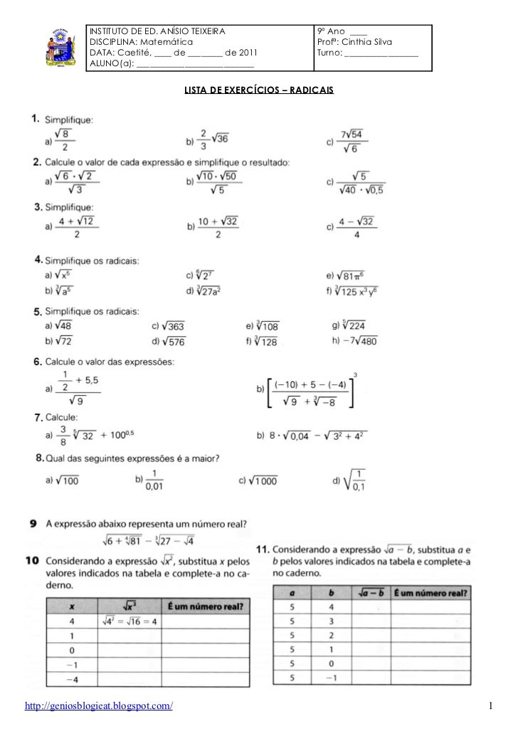 INSTITUTO DE ED. ANÍSIO TEIXEIRA                 9º Ano ____               DISCIPLINA: Matemática                         ...