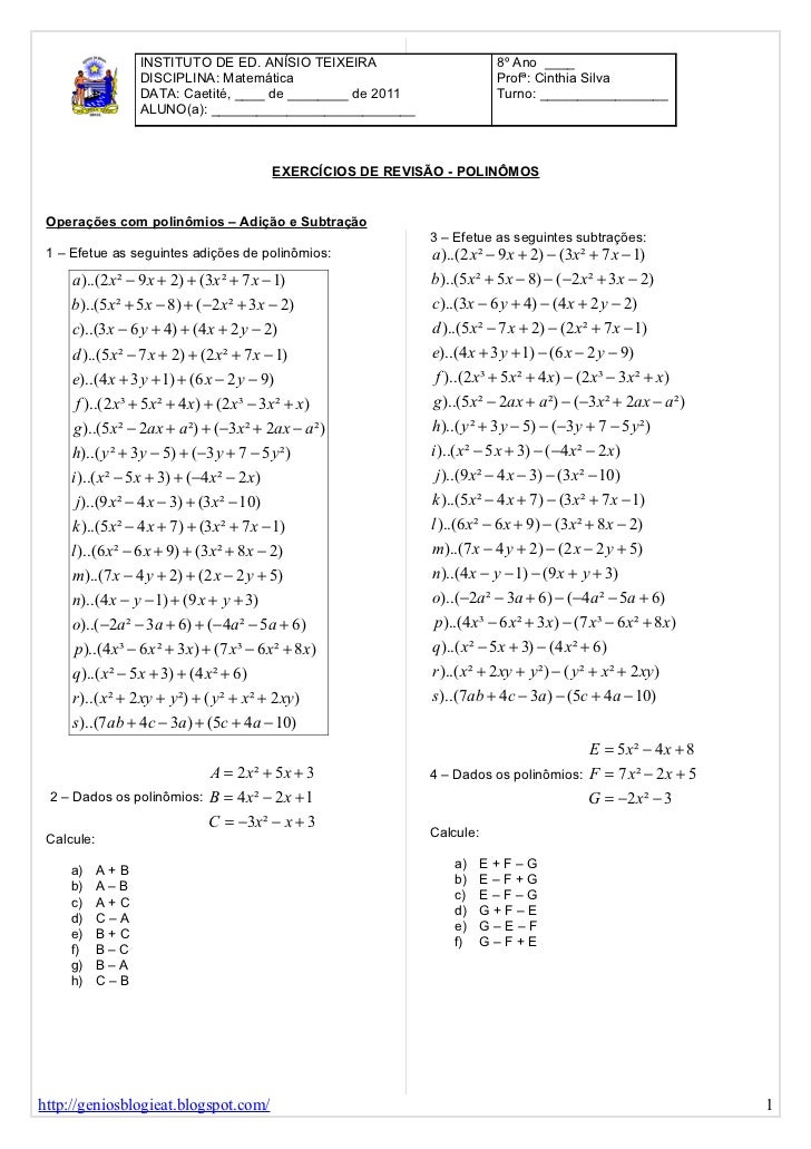 Lista De Exercicios Revisao Polinomios