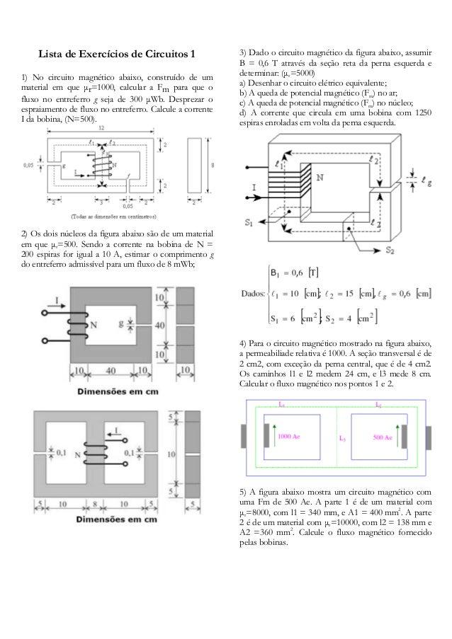 Lista de Exercícios de Circuitos 1 1) No circuito magnético abaixo, construído de um material em que µr=1000, calcular a F...