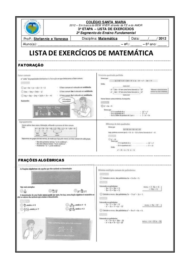 COLÉGIO SANTA MARIA 2012 – Em busca do BEM VIVER através da FÉ e do AMOR 3ª ETAPA – LISTA DE EXERCÍCIOS 2º Segmento do Ens...
