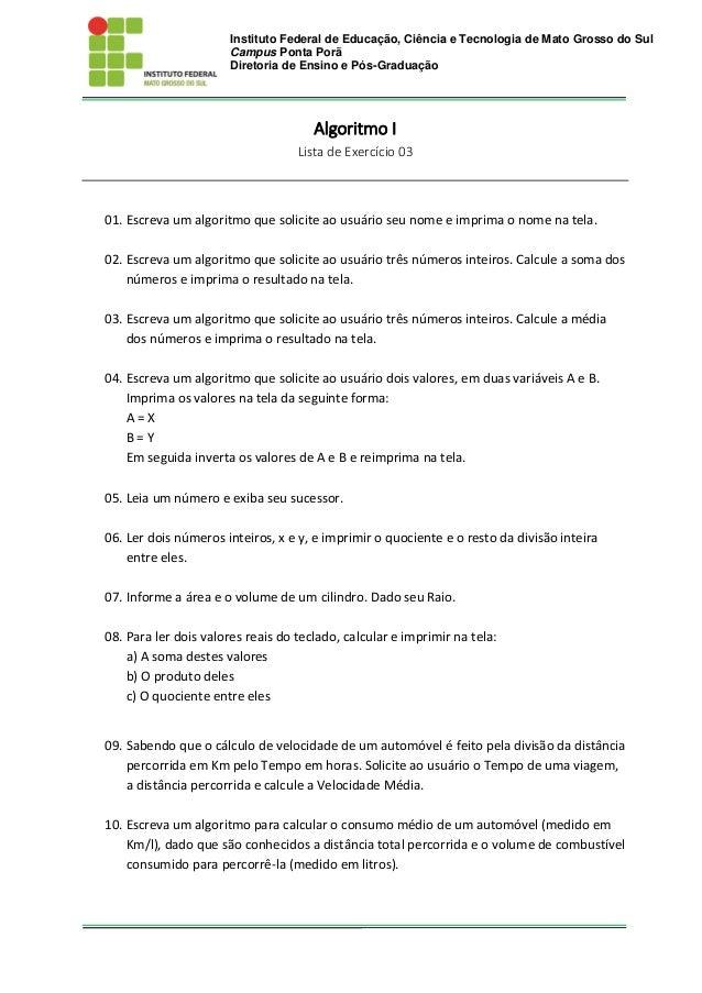 Instituto Federal de Educação, Ciência e Tecnologia de Mato Grosso do Sul Campus Ponta Porã Diretoria de Ensino e Pós-Grad...