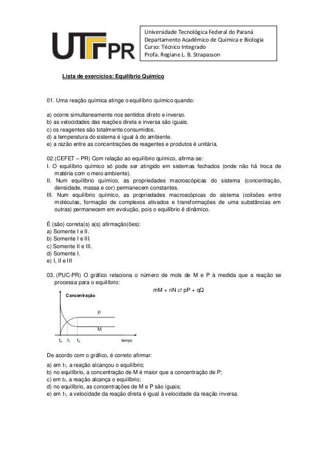 Universidade Tecnológica Federal do Paraná                                          Departamento Acadêmico de Química e Bi...