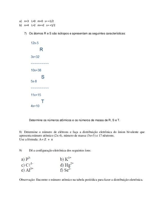 Lista De Exercícios Estrutura Atômica