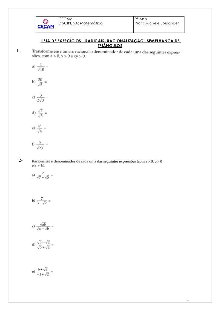 CECAM                             9º Ano             DISCIPLINA: Matemática            Profª: Michele Boulanger      LISTA...