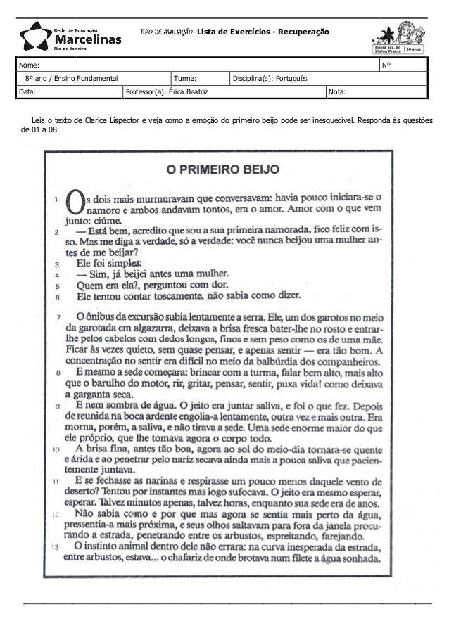 TIPO DE AVALIAÇÃO: Lista de Exercícios - Recuperação Nome: Nº 8º ano / Ensino Fundamental Turma: Disciplina(s): Português ...