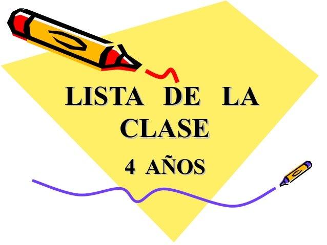LLIISSTTAA DDEE LLAA  CCLLAASSEE  44 AAÑÑOOSS
