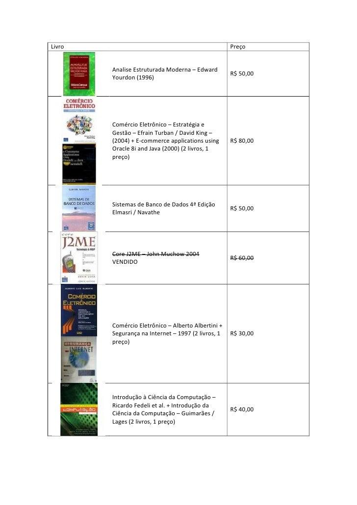 Livro                                         Preço        Analise Estruturada Moderna –                                  ...