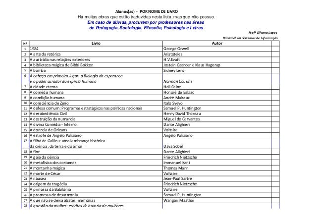 Alunos(as) - POR NOME DE LIVRO Há muitas obras que estão traduzidas nesta lista, mas que não possuo. Em caso de dúvida, pr...
