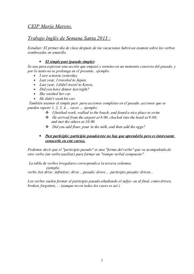 CEIP María Maroto.Trabajo Inglés de Semana Santa 2013 :Estudiar: El primer día de clase después de las vacaciones habrá un...