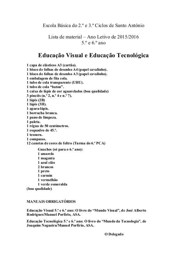 Escola Básica do 2.º e 3.º Ciclos de Santo António Lista de material – Ano Letivo de 2015/2016 5.º e 6.º ano Educação Visu...