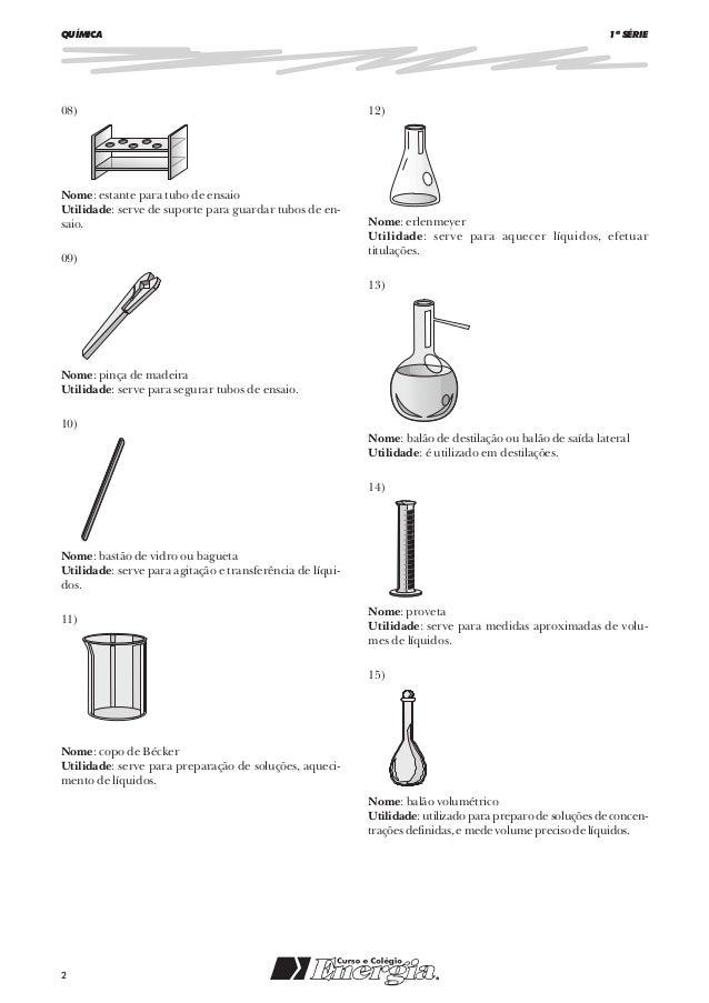 Materiais usados em laboratório de química