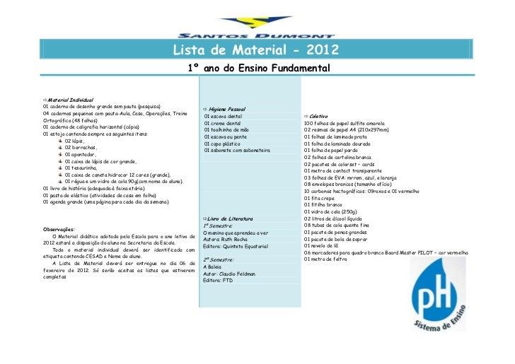 Lista de Material - 2012                                                            1º ano do Ensino FundamentalMaterial ...
