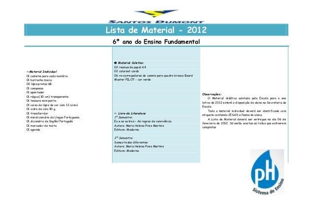 Lista de Material - 2012 6º ano do Ensino Fundamental Material Individual 01 caderno para cada matéria 01 borracha macia ...