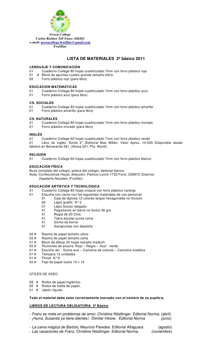 Green College   Carlos Richter 345 Fono: 420203e-mail: greencollege.frutillar@gmail.com                Frutillar          ...
