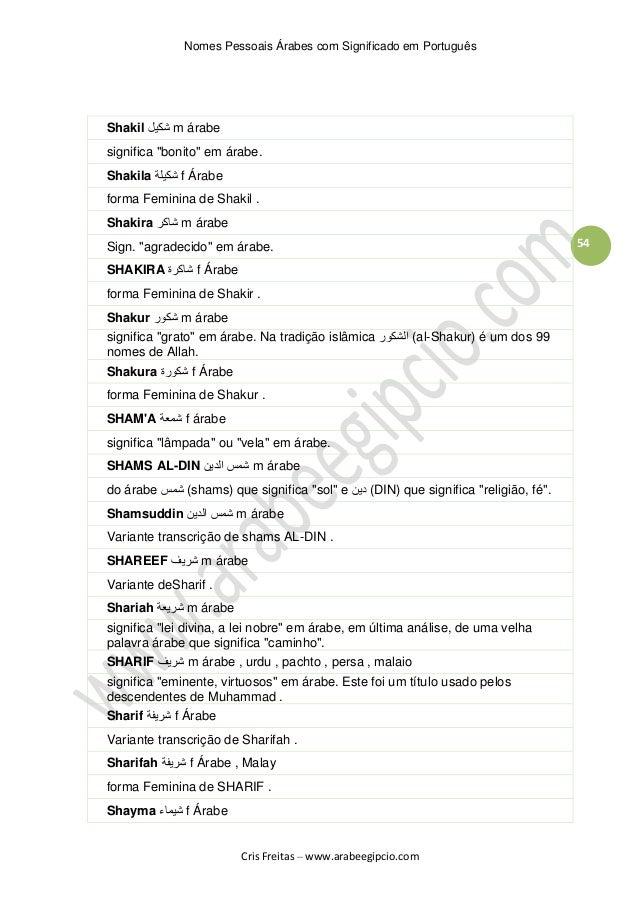 Artesanal Significado Em Portugues ~ Nomes Arabes com significado em Portugues