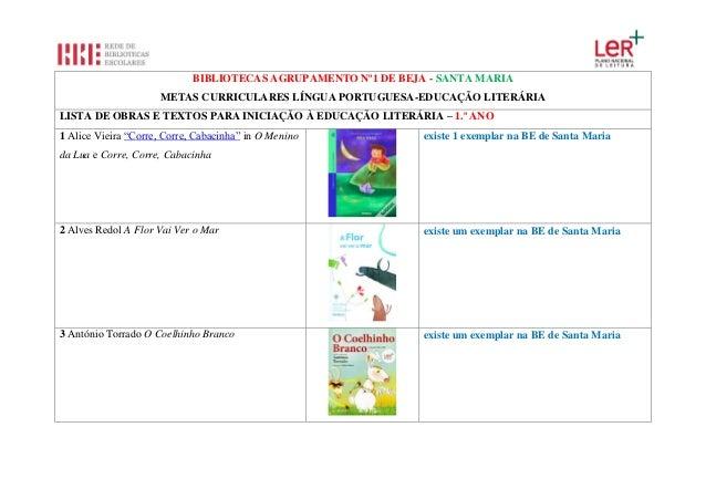 BIBLIOTECAS AGRUPAMENTO Nº1 DE BEJA - SANTA MARIA METAS CURRICULARES LÍNGUA PORTUGUESA-EDUCAÇÃO LITERÁRIA LISTA DE OBRAS E...